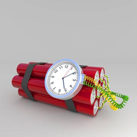 explosive watch: 3d image of time bomb