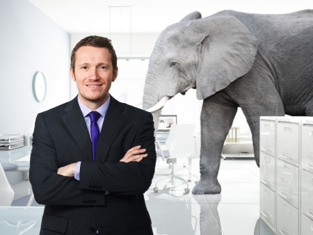 elephants: smiling man and elephant in modern office Stock Photo
