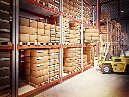 warehouse storage: fine 3d image of classic warehouse vintage style Stock Photo