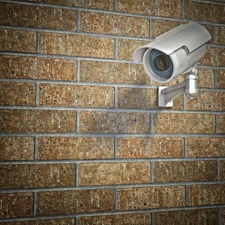 monitoring system: cctv on 3d  brick wall