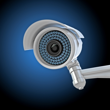 camera surveillance: 3d image of classic infrared cctv