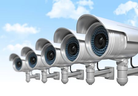deterrent: 3d cctv and sky background Stock Photo