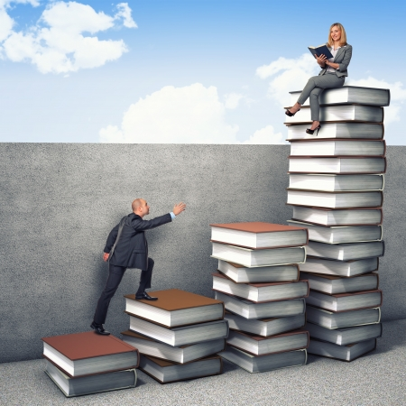 business people on 3d books piles Stock Photo - 16885104