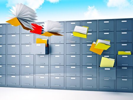 file cabinet: 3d image of flying files and file cabinet