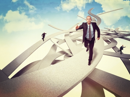 businessman run on abstract ways Stock Photo - 16885108