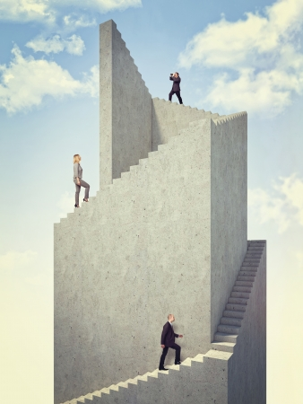 woman stairs: business people on 3d abstract tower