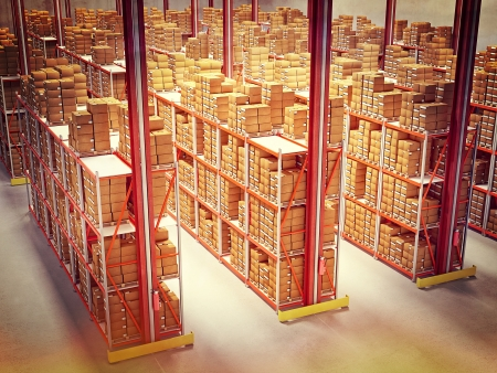 warehouse storage: fine 3d image of classic warehouse