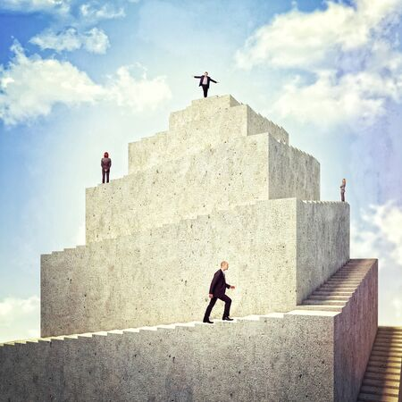 woman stairs: business people walk on 3d tower