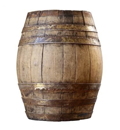 beer barrel: image of classic wood barrel on white background