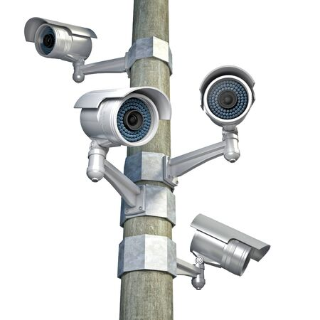 cctv camera: 3d image of classic infrared cctv