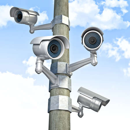 3d cctv and sky background photo