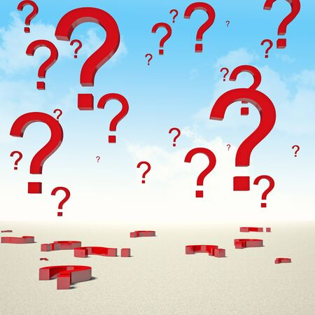 3d image of red question mark in the sky Stock Photo - 17236193