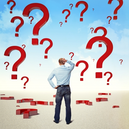 standing businessman and sky with big question mark Stock Photo - 17235421
