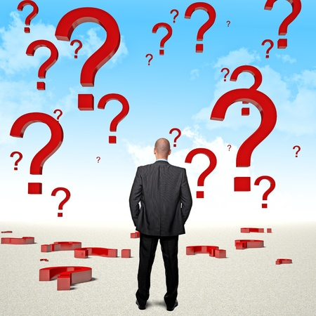 standing businessman and sky with big question mark Stock Photo - 17235432