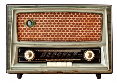 vintage radio isolated on white background photo