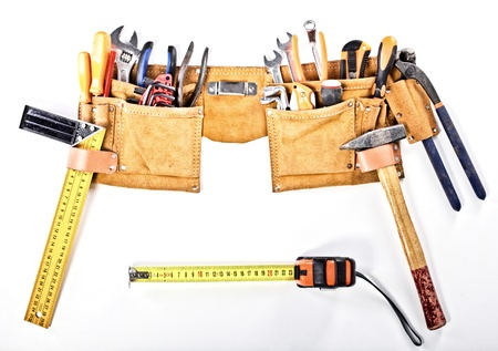 carpentery: classic tools belt isolated on white background