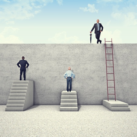 business obstacle: business people and metaphoric obstacle