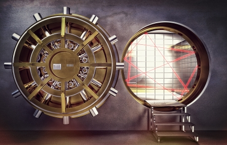 bank vault: classic vault 3d golden colors