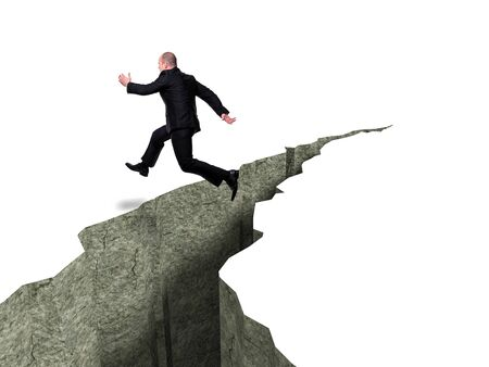 crevasse: caucasian businessman jump over crevasse