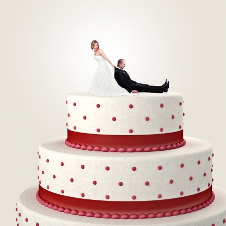 gromm try to escape from wedding cake topper photo