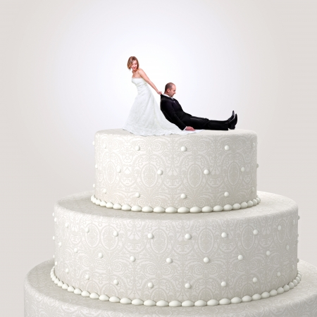 funny cake topper with bride and groom