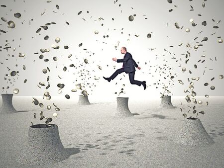 businessman jumping: jumping businessman and 3d euro coin Stock Photo