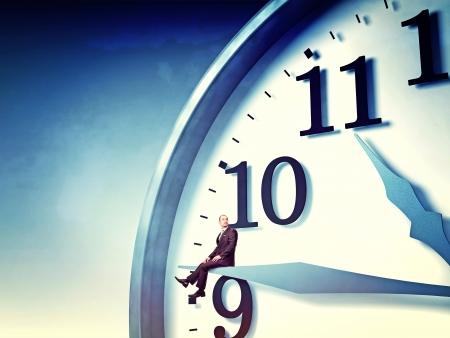 businessman sit on 3d clock