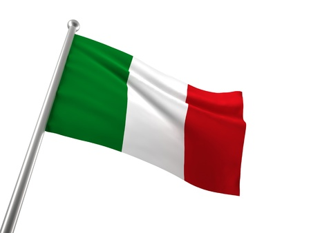 the italian flag: bandiera italiana isolato su bianco