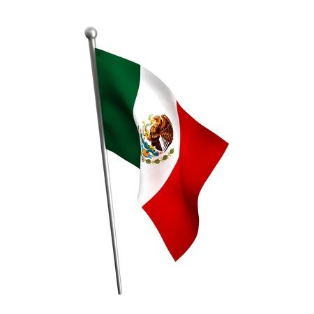 mexico flag isolated on white Stok Fotoğraf