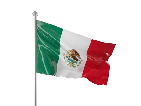 mexican flag: mexico flag isolated on white Stock Photo