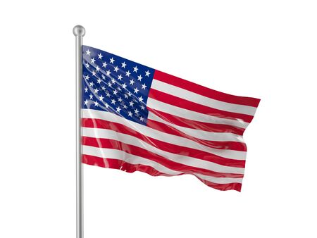 usa flag isolated on white photo