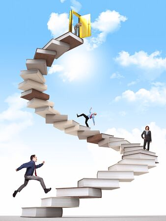 business people on 3d book stair Stock Photo