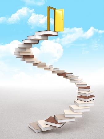 golden door over knowledge stair photo