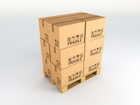 boxboard: 3d image of pallets with classic boxes