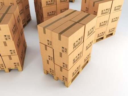 3d image of pallets with classic boxes Stock Photo - 18275592