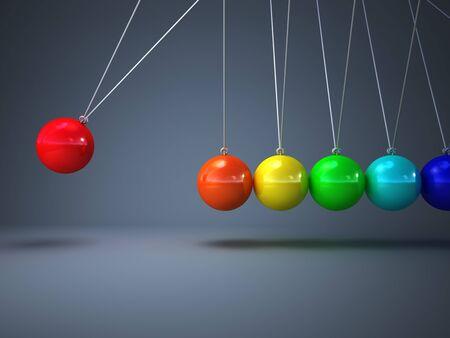 balance rainbow colors: 3d image of rainbow newton cradle