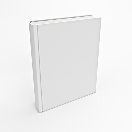 library book: 3d image of white book empty cover