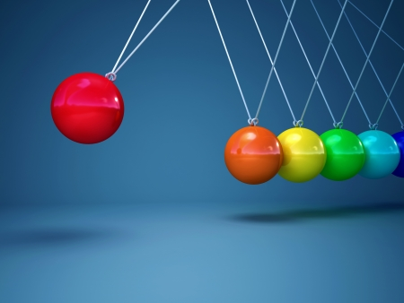 cradle: 3d image of rainbow newton cradle