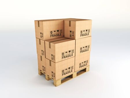 cargo container: fine image of 3d pallet and classic cardboard boxes