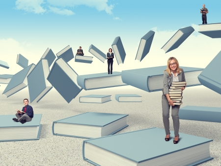 people on flying 3d books photo
