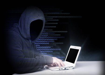 portrait of hacker with binary code