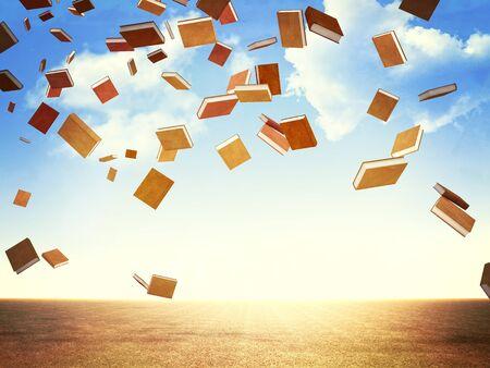 libros volando: Imagen en 3D de libros de vuelo