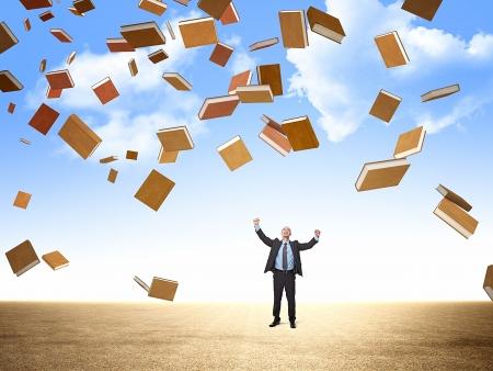 libros volando: feliz hombre de negocios y de los libros de vuelo 3d Foto de archivo