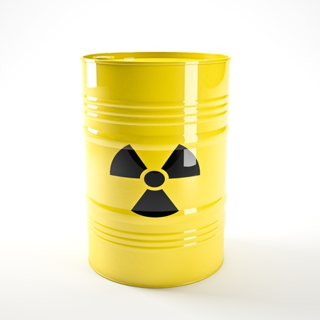 3d image of yellow radioactive barell photo