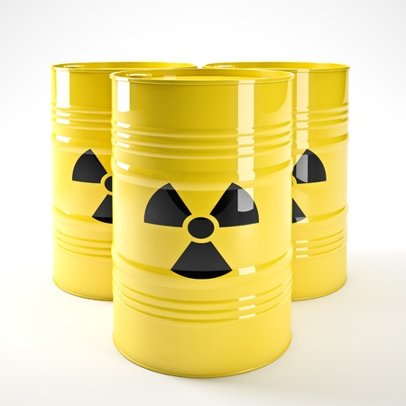 nuclear waste disposal: 3d image of yellow radioactive barell Stock Photo