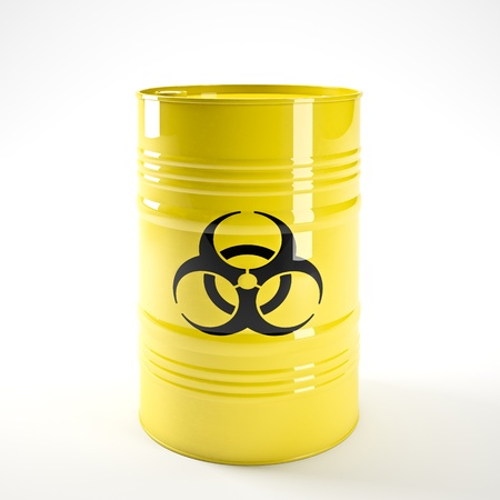 barell: 3d image of yellow biohazard barell