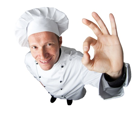 portret van de blanke man met uniform chef