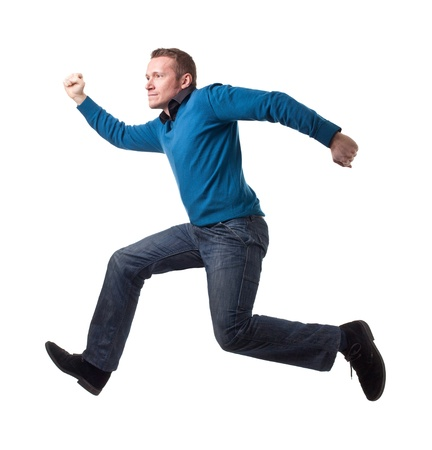 portrait of jumping man isolated on white background