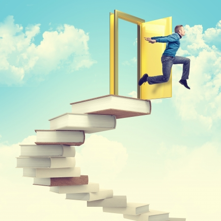 man jump from 3d books stair photo