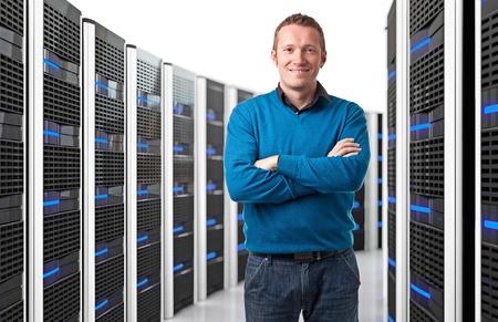 smiling man in data center photo